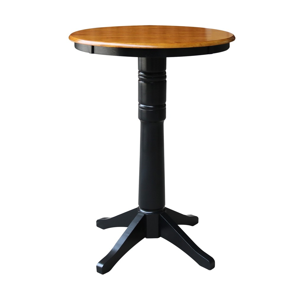"Image of ""30"""" Linc Round Top Pedestal Table Bar Height Black/Cherry - International Concepts"""