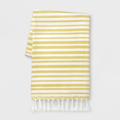 Outdoor Striped Blanket with Tassels - Citrus Yellow & White - Opalhouse™