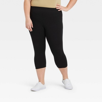 Women's Plus Size High-Waisted Capri Leggings - Ava & Viv™ Black