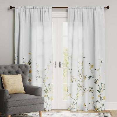 Climbing Floral Light Filtering Window Curtain Panel - Threshold™