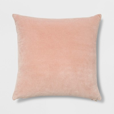 Velvet Square Throw Pillow With Exposed Zipper Blush - Project 62™