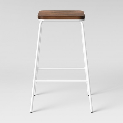 Rhodes Metal/Wood Counter Stool White   Project 62™ by Project 62