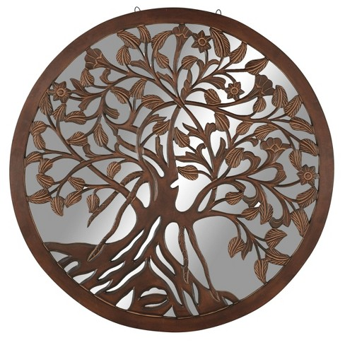 48 X Large Round Wall Art Mirror, Round Wood Carved Wall Decor
