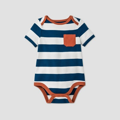 Baby Boys' Striped Short Sleeve Bodysuit - Cat & Jack™ Blue 6-9M