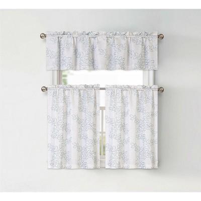 GoodGram Brielle Embroidered Floral Kitchen Curtain Tier & Valance Set