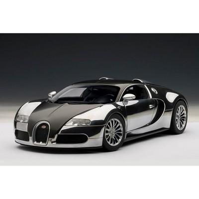 Bugatti EB Veyron 16.4 Pur Sang Black and Aluminum Casting 1/18 Diecast Model Car by Autoart