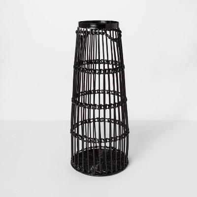 24  x 9.7  Iron And Rattan Floor Vase Black - Project 62™