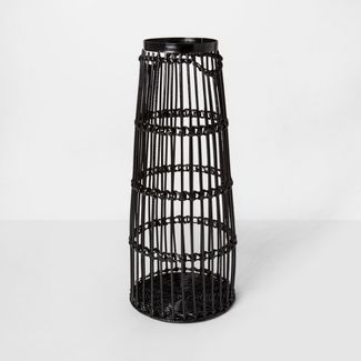 "24"" x 9.7"" Iron And Rattan Floor Vase Black - Project 62™"
