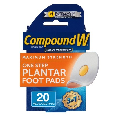 Compound W Maximum Strength One Step Plantar Wart Remover Foot Pads - 20 ct