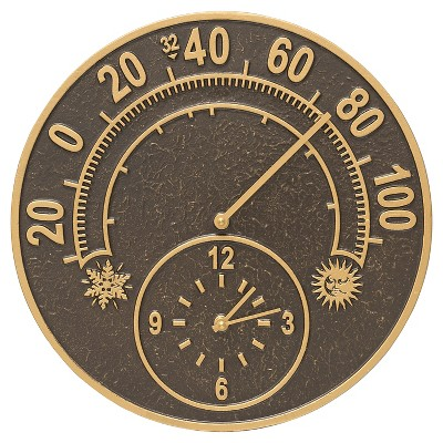 1  Aluminum Solstice Thermometer Clock - French Bronze - Whitehall Products