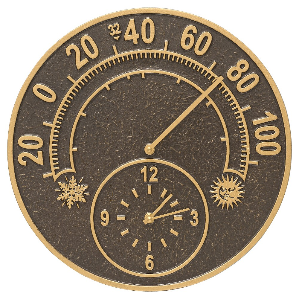 1 Aluminum Solstice Thermometer Clock - French Bronze - Whitehall Products, Brown