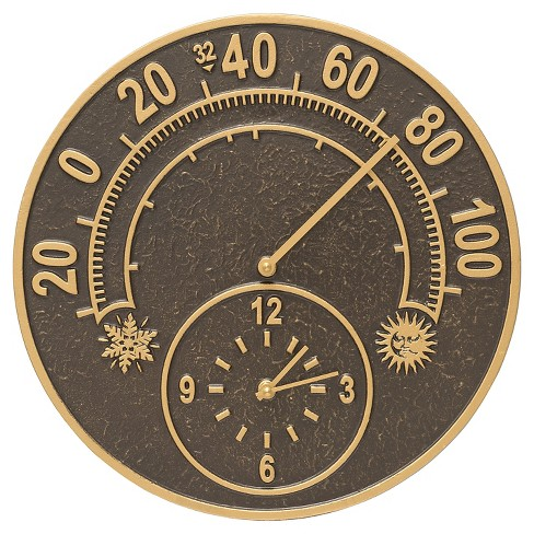 "1"" Aluminum Solstice Thermometer Clock - French Bronze - Whitehall Products - image 1 of 1"