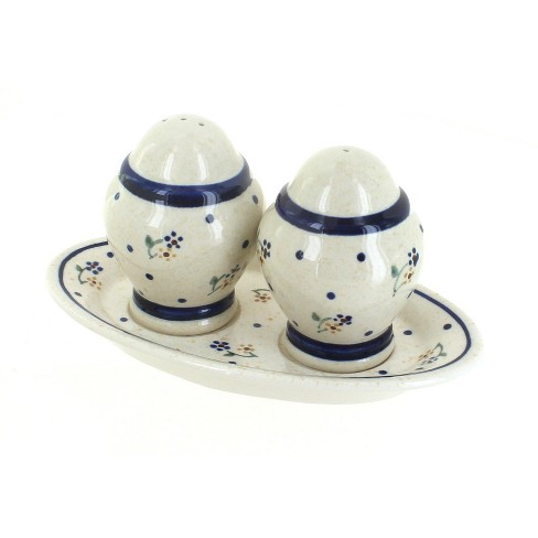 Blue Rose Polish Pottery Country Meadow Salt & Pepper Shaker with Plate - image 1 of 1