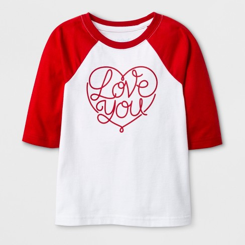 1fc4f5a27192 Toddler 3/4 Sleeve 'Love You' Baseball T-Shirt - Cat & Jack™ White : Target