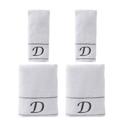 "4pc ""D"" Monogram Bath/Hand Towel Set White - SKL Home"