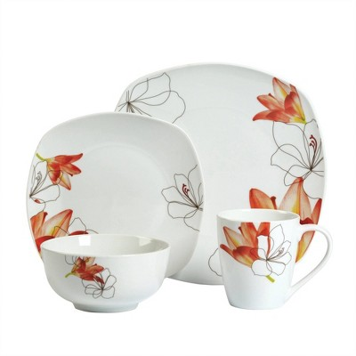 16pc Porcelain Lily Dinnerware Set - Tabletops Gallery