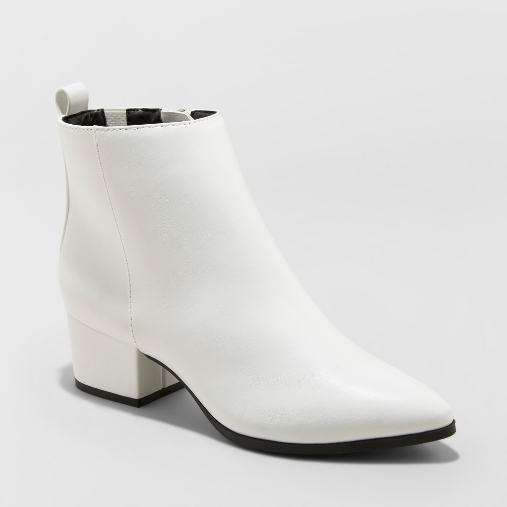 Women's Valerie Microsude City Ankle Fashion Boots - A New Day White 7.5