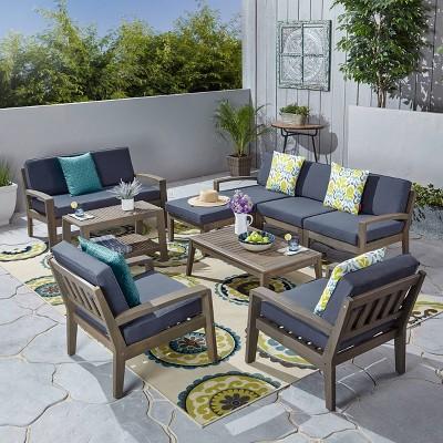 9pc Grenada Acacia Wood Patio Sectional Sofa Set Gray - Christopher Knight Home
