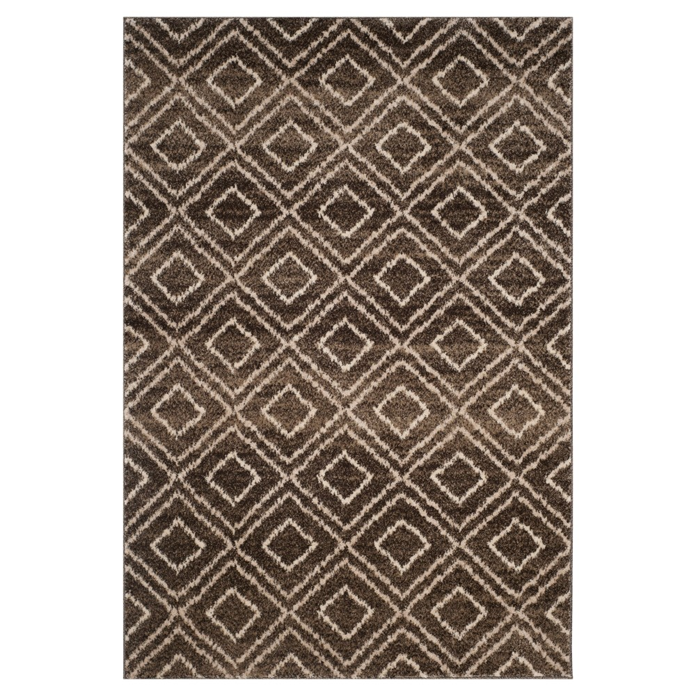 Brown/Creme Abstract Loomed Area Rug - (5'1
