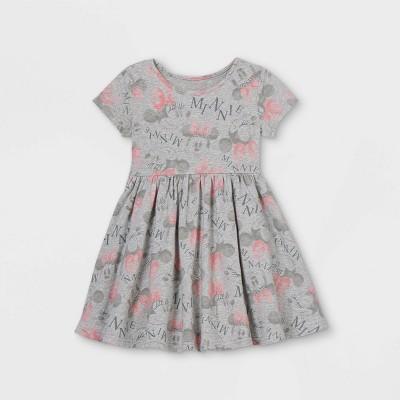 Toddler Girls' Minnie Mouse Short Sleeve Jersey Knit Dress - Gray 12M