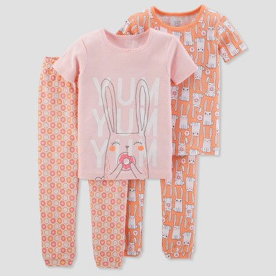 Baby Girls' 4pc Cotton Bunnies Pajama Set - Just One You® made by carter's Peach 9M