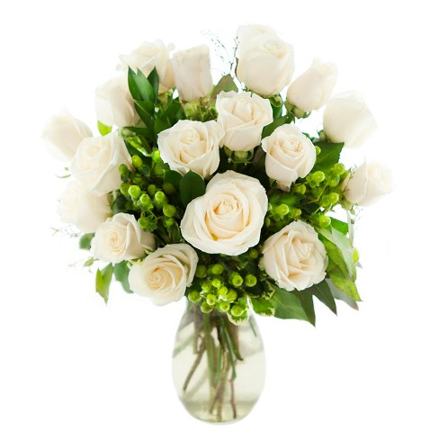 Kabloom heavenly white roses fresh flower arrangement with vase about this item mightylinksfo