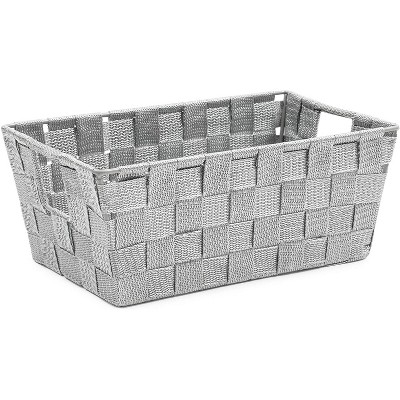 Farmlyn Creek Grey Woven Basket for Bathroom, Closet and Pantry Storage Organizer (11.4 x 6.5 x 4.5 in)