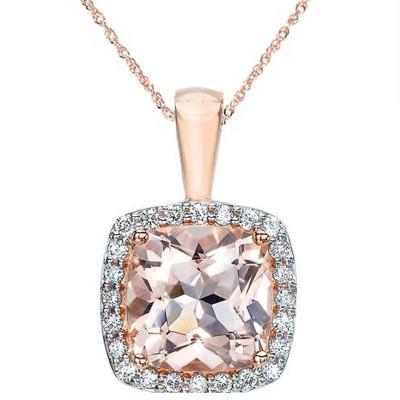 Pompeii3 1 1/10ct Morganite Cushion Halo Diamond Pendant 14K Rose Gold