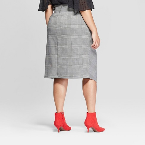 1fbc684efd Women's Plus Size Plaid Asymmetrical Hem Midi Skirt - Ava & Viv™ Gray :  Target