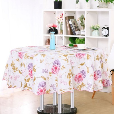 "60"" Dia Round Vinyl Water Oil Resistant Printed Tablecloths Red Purple Flower - PiccoCasa"