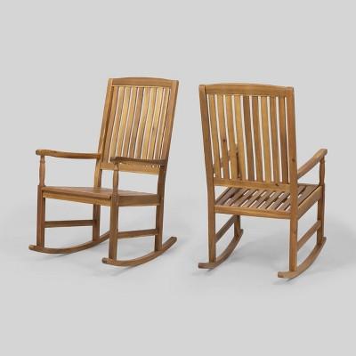 Arcadia 2pk Acacia Wood Rocking Chair Teak Christopher Knight Home Target