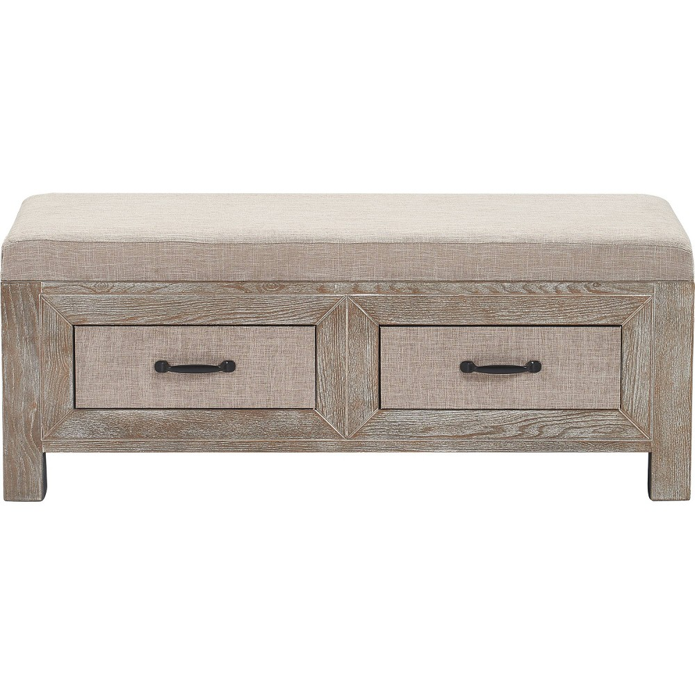 Image of Cottage Upholstered Storage Bench Weathered Ash - Click Décor, Brown