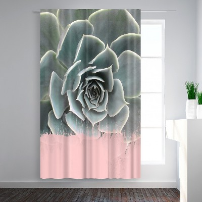 Americanflat Pink On Succulent by Emanuela Carratoni Blackout Rod Pocket Single Curtain Panel 50x84