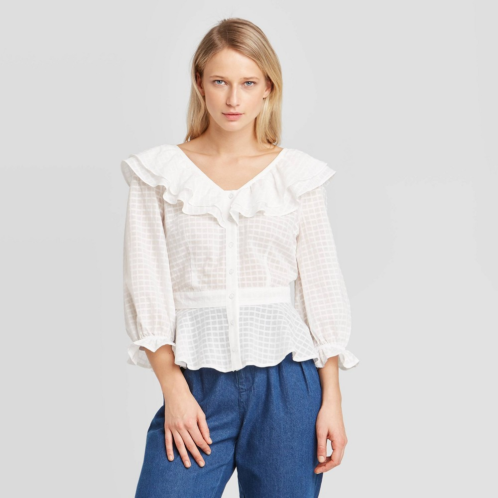 Vintage Tops & Retro Shirts, Halter Tops, Blouses Women39s Bell 34 Sleeve V-Neck Ruffle Blouse - Who What Wear8482 $29.99 AT vintagedancer.com