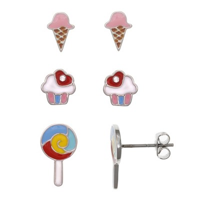 FAO Schwarz Ice Cream, Cupcake, Lollopop Stud Earring Set