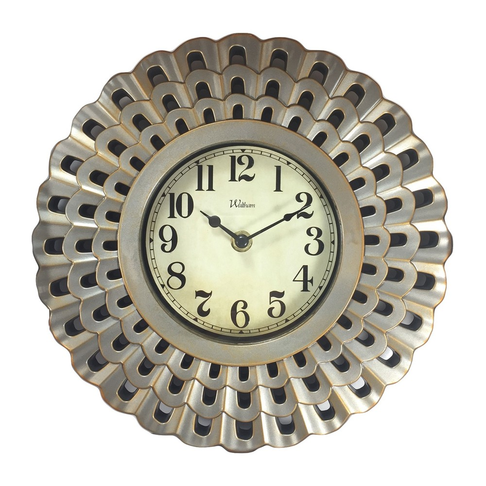 "Image of ""Round 10"""" Scalloped Case with Silver Finish and Gold Highlights Wall Clock - Nelsonic"""
