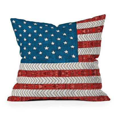 "16""x16"" Bianca Green 'USA Flag' Square Throw Pillow Red/Blue - Deny Designs"