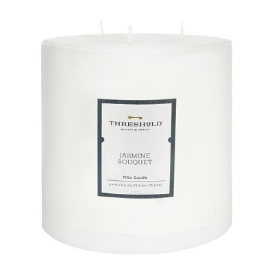 6  x 6  Mottled Pillar 3-Wick Candle Jasmine Bouquet - Threshold™