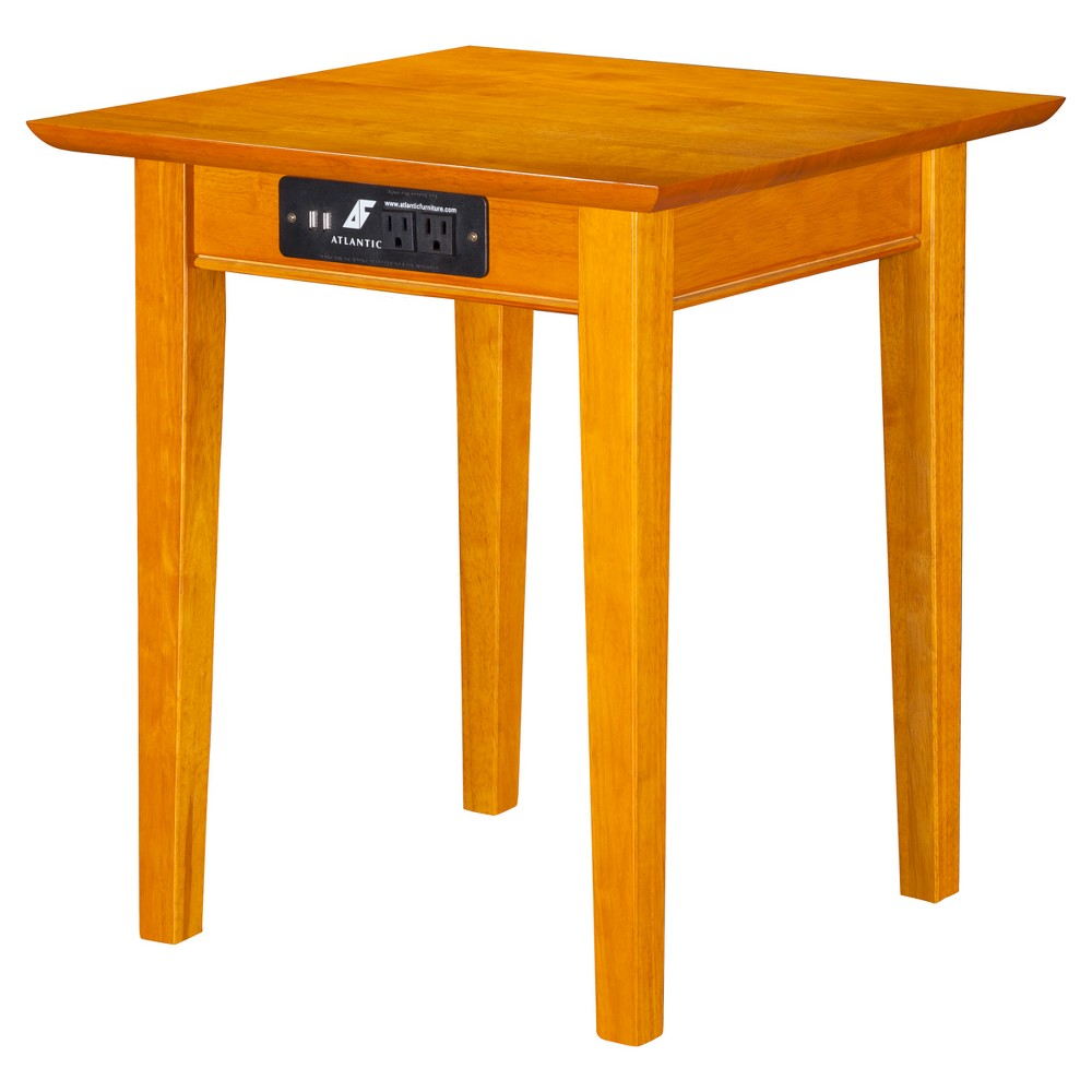 Shaker End Table with Charger - Caramel Latte - Atlantic Furniture