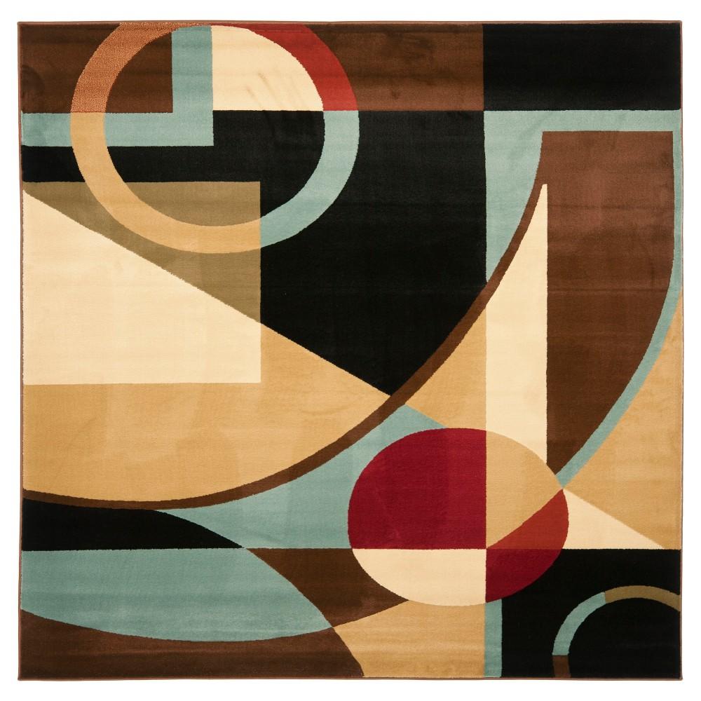 Black/Multi Abstract Loomed Square Area Rug - (7'x7') - Safavieh