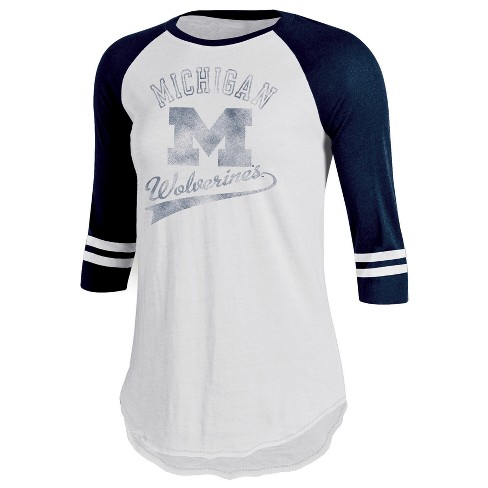 Michigan Wolverines Women's Retro Tailgate White/3/4 Sleeve T-Shirt - image 1 of 1