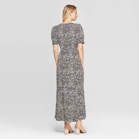 b6a10479d94 Women s Polka Dot 3 4 Sleeve V-Neck Maxi Dress - Who What Wear™ Black White