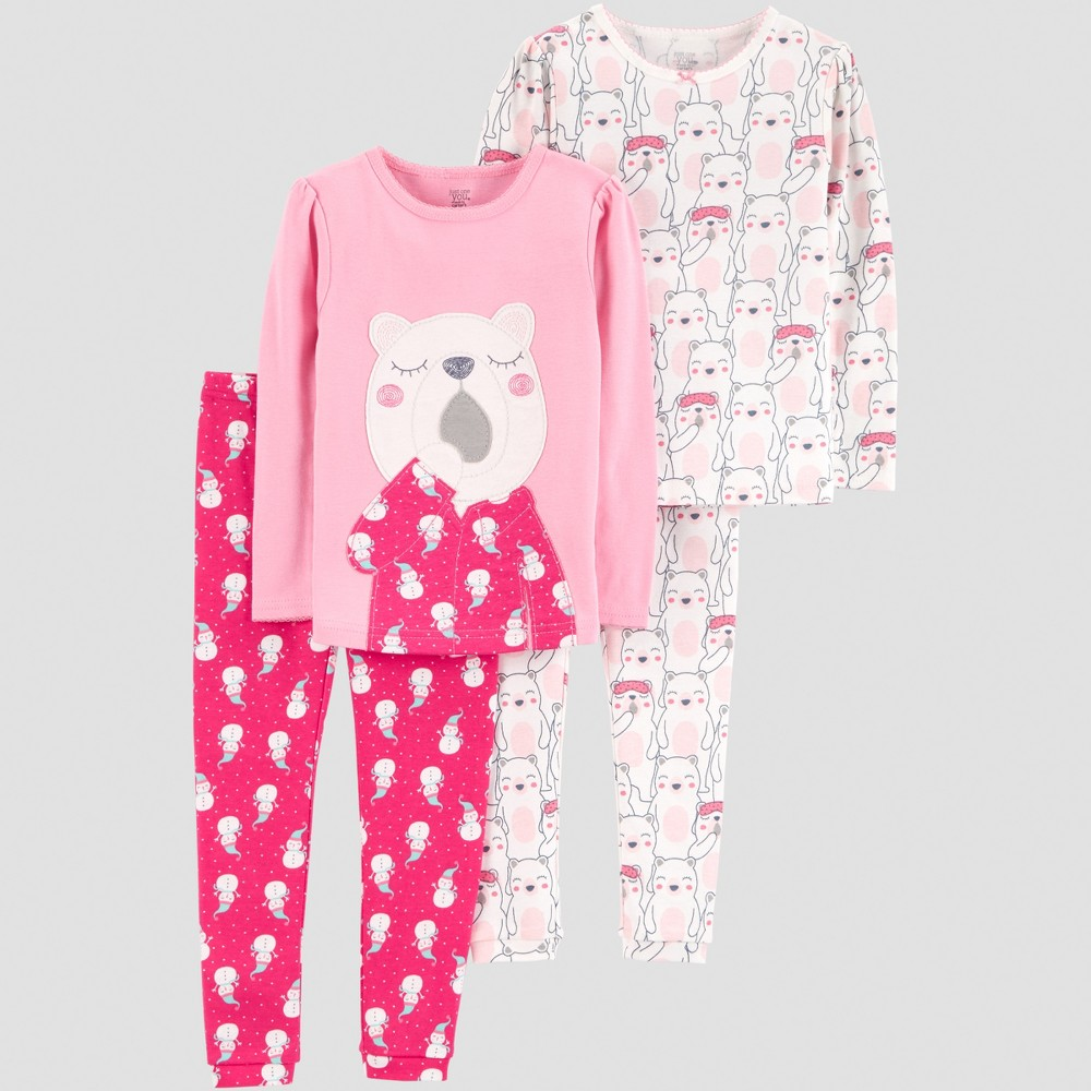 Toddler Girls' 4pc Bear Pajama Set - Just One You made by carter's Pink 3T