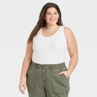 Women's Plus Size Slub Tank Top - Ava & Viv™ White