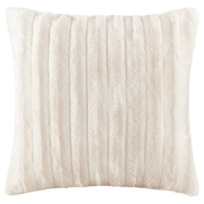 Ivory York Brushed Solid Stripe Plaited Long Faux Fur Throw Pillow (20 x20 )