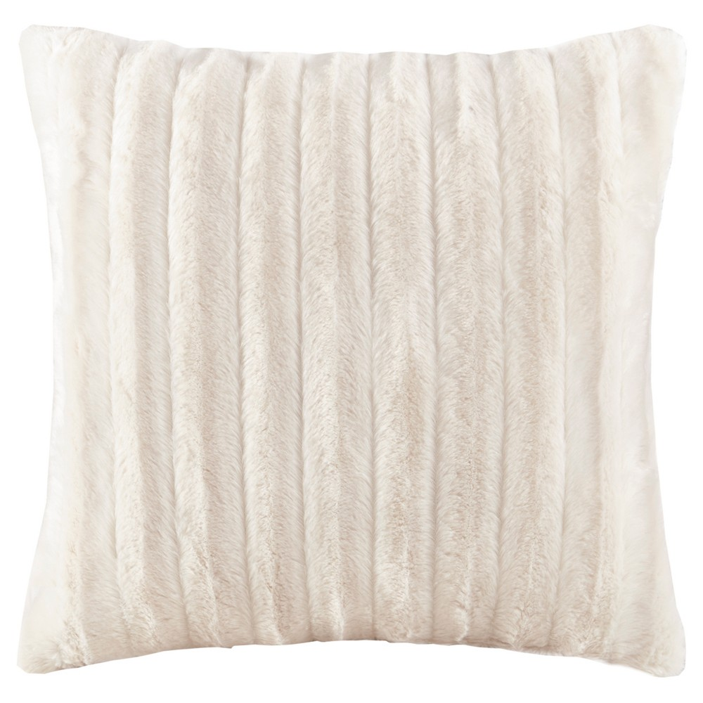Ivory York Brushed Solid Stripe Plaited Long Faux Fur Throw Pillow (20