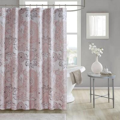 Lian Cotton Printed Shower Curtain Blush