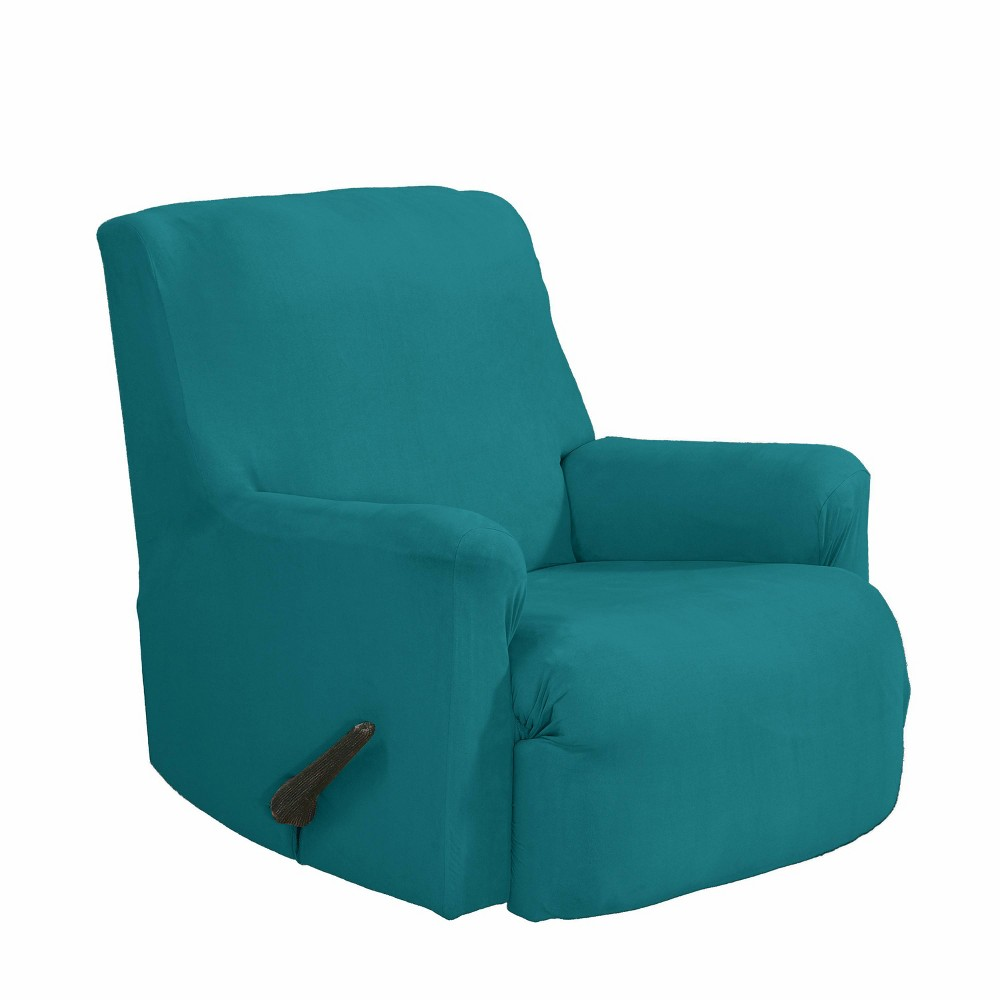Image of 2pc Recliner Stretch Fit Slipcover Aqua - Serta