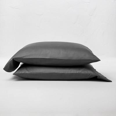 King 500 Thread Count Washed Supima Sateen Solid Pillowcase Set Dark Gray - Casaluna™
