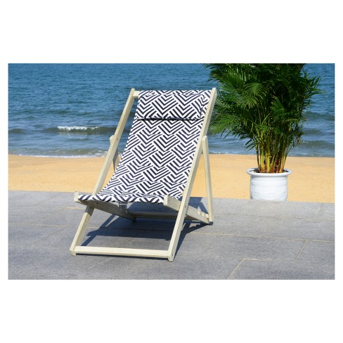 Rive Foldable Sling Chair - White Wash/Navy - Safavieh - image 1 of 5